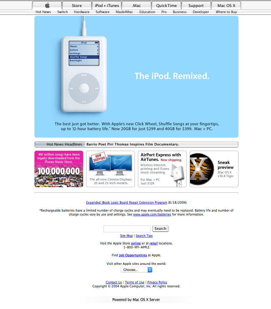 Le site d'Apple en 2004
