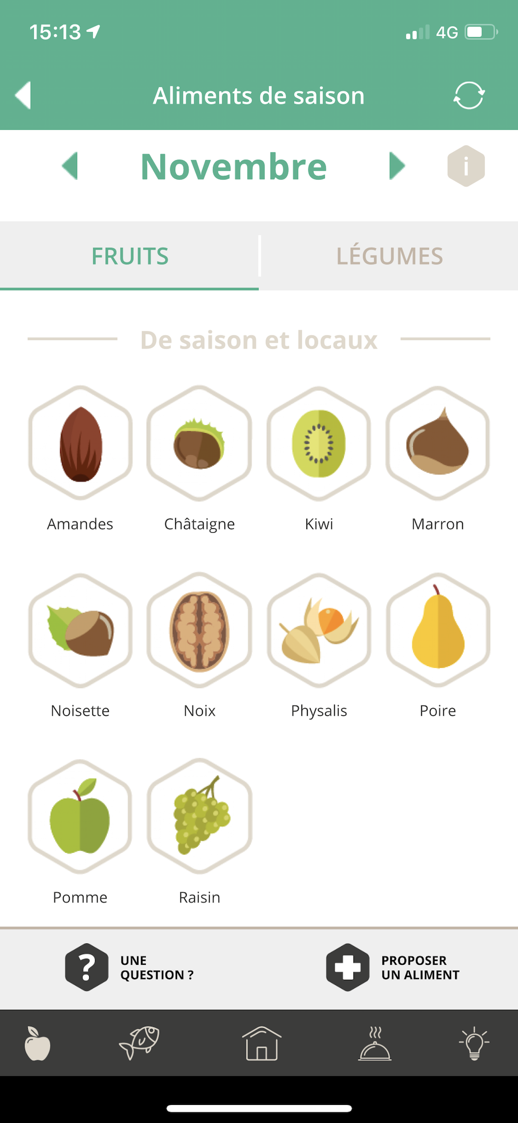 Classification des légumes dans l'application Etiquettable
