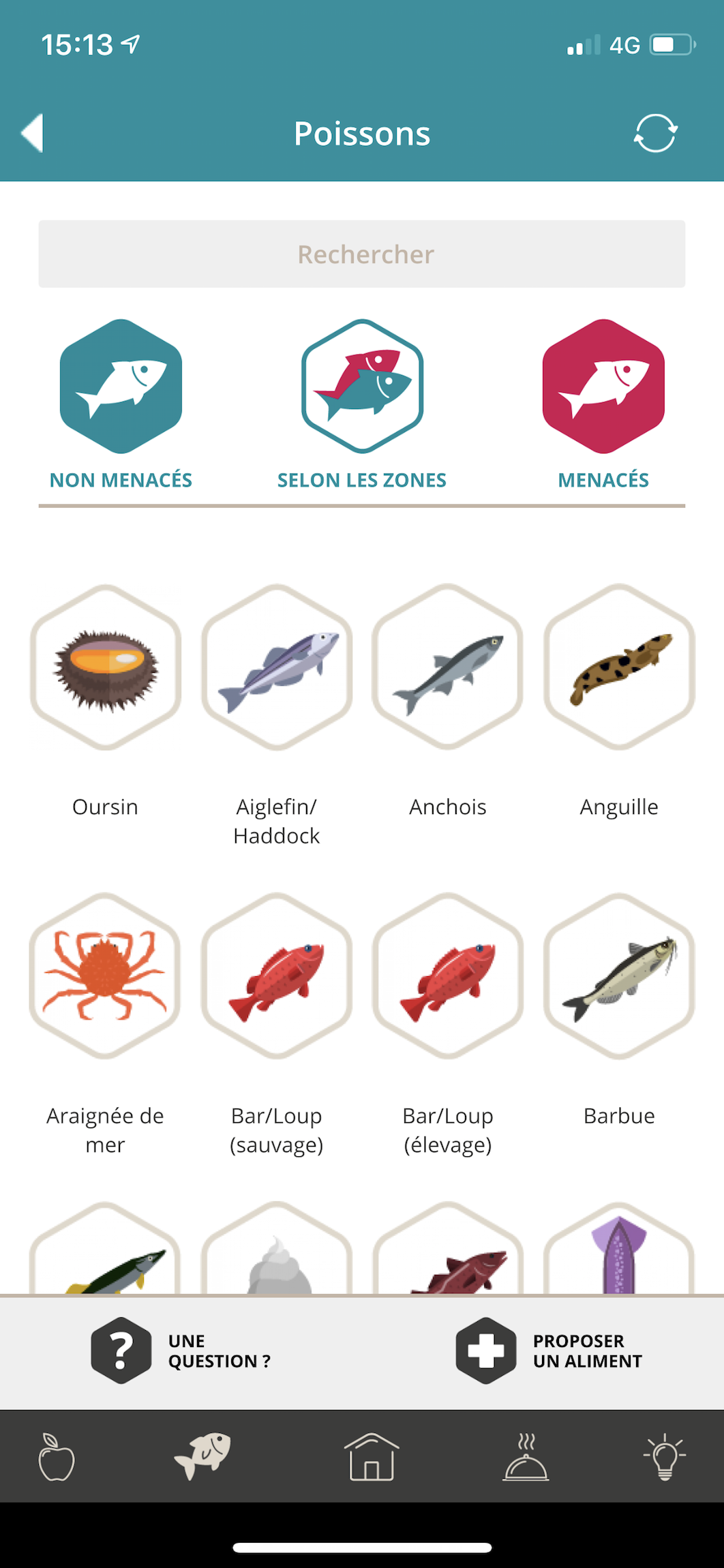 Classification des poissons menacés dans l'application Etiquettable