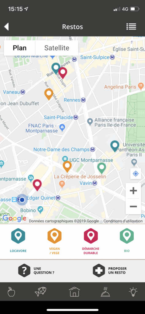 Carte des restaurants responsables dans l'application Etiquettable